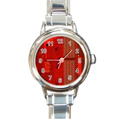 Computer Texture Red Motherboard Circuit Round Italian Charm Watch by Simbadda