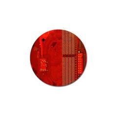 Computer Texture Red Motherboard Circuit Golf Ball Marker (10 Pack) by Simbadda