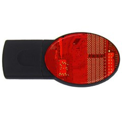 Computer Texture Red Motherboard Circuit Usb Flash Drive Oval (2 Gb) by Simbadda