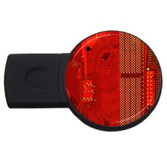 Computer Texture Red Motherboard Circuit USB Flash Drive Round (4 GB) by Simbadda