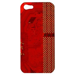 Computer Texture Red Motherboard Circuit Apple Iphone 5 Hardshell Case by Simbadda