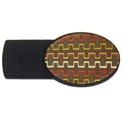Fabric Texture Vintage Retro 70s Zig Zag Pattern Usb Flash Drive Oval (2 Gb) by Simbadda