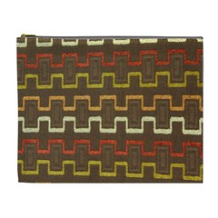 Fabric Texture Vintage Retro 70s Zig Zag Pattern Cosmetic Bag (xl) by Simbadda