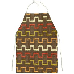 Fabric Texture Vintage Retro 70s Zig Zag Pattern Full Print Aprons