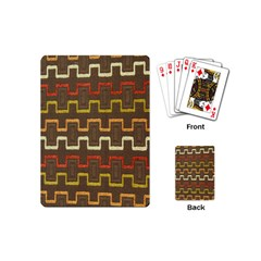 Fabric Texture Vintage Retro 70s Zig Zag Pattern Playing Cards (mini)  by Simbadda