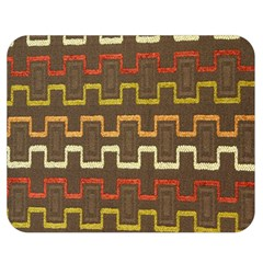 Fabric Texture Vintage Retro 70s Zig Zag Pattern Double Sided Flano Blanket (medium)  by Simbadda