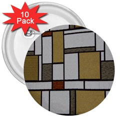 Fabric Textures Fabric Texture Vintage Blocks Rectangle Pattern 3  Buttons (10 Pack)  by Simbadda