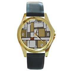 Fabric Textures Fabric Texture Vintage Blocks Rectangle Pattern Round Gold Metal Watch by Simbadda