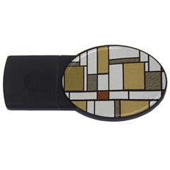 Fabric Textures Fabric Texture Vintage Blocks Rectangle Pattern Usb Flash Drive Oval (4 Gb) by Simbadda