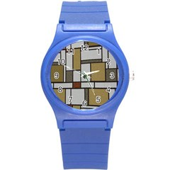 Fabric Textures Fabric Texture Vintage Blocks Rectangle Pattern Round Plastic Sport Watch (s) by Simbadda