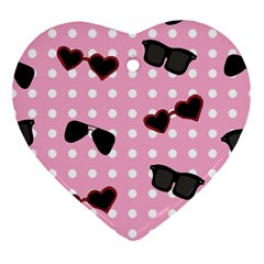 Pisunglass Tech Pink Pattern Ornament (heart) by Simbadda