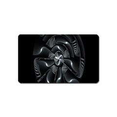 Fractal Disk Texture Black White Spiral Circle Abstract Tech Technologic Magnet (name Card) by Simbadda
