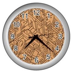 Mechanical Tech Pattern Wall Clocks (silver)  by Simbadda
