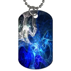 Ghost Fractal Texture Skull Ghostly White Blue Light Abstract Dog Tag (one Side) by Simbadda