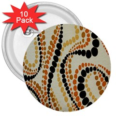 Polka Dot Texture Fabric 70s Orange Swirl Cloth Pattern 3  Buttons (10 Pack)  by Simbadda