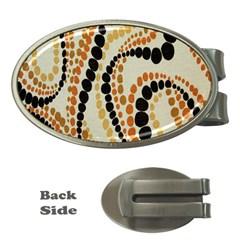Polka Dot Texture Fabric 70s Orange Swirl Cloth Pattern Money Clips (oval)  by Simbadda