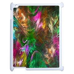 Fractal Texture Abstract Messy Light Color Swirl Bright Apple Ipad 2 Case (white) by Simbadda