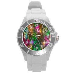 Fractal Texture Abstract Messy Light Color Swirl Bright Round Plastic Sport Watch (l) by Simbadda
