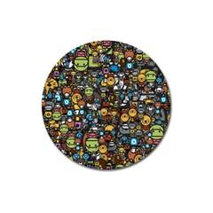 Many Funny Animals Magnet 3  (round) by Simbadda