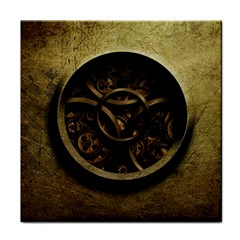 Abstract Steampunk Textures Golden Tile Coasters by Onesevenart