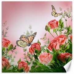 Flora Butterfly Roses Canvas 20  x 20   by Onesevenart