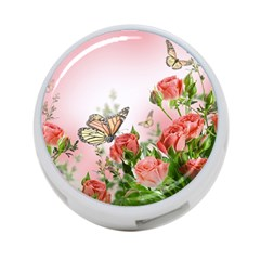 Flora Butterfly Roses 4 Port Usb Hub (two Sides)  by Onesevenart