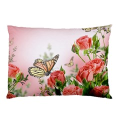 Flora Butterfly Roses Pillow Case (two Sides) by Onesevenart