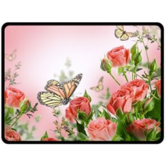 Flora Butterfly Roses Double Sided Fleece Blanket (large)  by Onesevenart