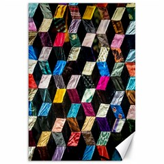 Abstract Multicolor Cubes 3d Quilt Fabric Canvas 20  X 30   by Onesevenart