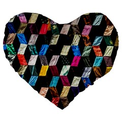Abstract Multicolor Cubes 3d Quilt Fabric Large 19  Premium Heart Shape Cushions by Onesevenart