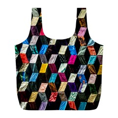 Abstract Multicolor Cubes 3d Quilt Fabric Full Print Recycle Bags (l)  by Onesevenart