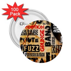 Guitar Typography 2 25  Buttons (100 Pack)  by Onesevenart