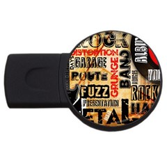 Guitar Typography Usb Flash Drive Round (4 Gb) by Onesevenart