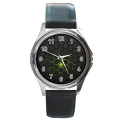Green Android Honeycomb Gree Round Metal Watch by Onesevenart
