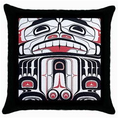 Ethnic Traditional Art Throw Pillow Case (black) by Onesevenart
