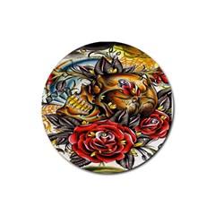 Flower Art Traditional Rubber Coaster (round)  by Onesevenart