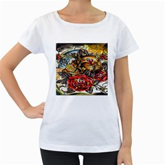 Flower Art Traditional Women s Loose Fit T Shirt (white) by Onesevenart