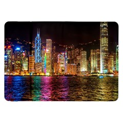 Light Water Cityscapes Night Multicolor Hong Kong Nightlights Samsung Galaxy Tab 8 9  P7300 Flip Case by Onesevenart