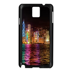 Light Water Cityscapes Night Multicolor Hong Kong Nightlights Samsung Galaxy Note 3 N9005 Case (Black)