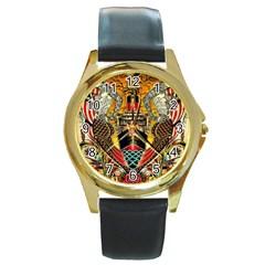 Hail Fine Art Print Round Gold Metal Watch by Onesevenart
