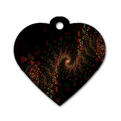 Multicolor Fractals Digital Art Design Dog Tag Heart (one Side) by Onesevenart