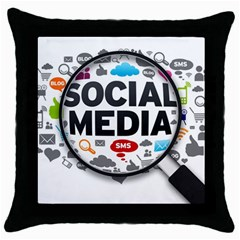 Social Media Computer Internet Typography Text Poster Throw Pillow Case (black) by Onesevenart