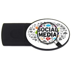 Social Media Computer Internet Typography Text Poster Usb Flash Drive Oval (4 Gb) by Onesevenart