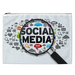 Social Media Computer Internet Typography Text Poster Cosmetic Bag (xxl)  by Onesevenart