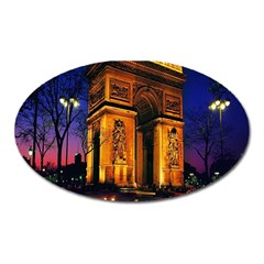 Paris Cityscapes Lights Multicolor France Oval Magnet by Onesevenart
