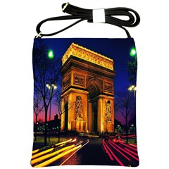 Paris Cityscapes Lights Multicolor France Shoulder Sling Bags by Onesevenart