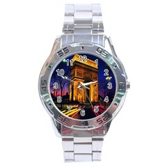 Paris Cityscapes Lights Multicolor France Stainless Steel Analogue Watch by Onesevenart