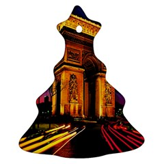 Paris Cityscapes Lights Multicolor France Christmas Tree Ornament (two Sides) by Onesevenart