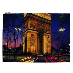 Paris Cityscapes Lights Multicolor France Cosmetic Bag (xxl)  by Onesevenart