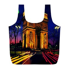 Paris Cityscapes Lights Multicolor France Full Print Recycle Bags (l)  by Onesevenart